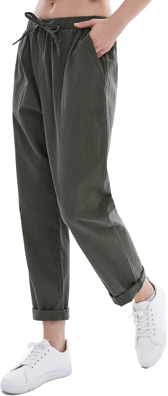 Womens Linen Pants for Summer Drawstring Soft Cropped Linen Cotton Pants Elastic Waist