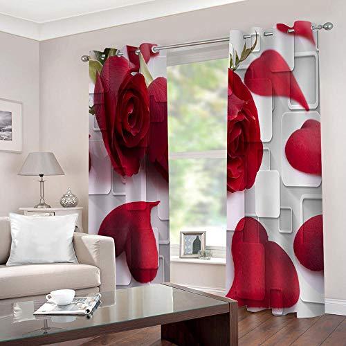 LWXBJX Cortinas Opacas de Dormitorio y Salón Ventanas - Flor Rosa roja - Impresión 3D Aislantes de Frío y Calor 90% Opacas Cortinas - 150 x 166 cm - Salon Cocina Habitacion Niño Moderna Decorativa