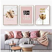 YQQICC 北欧のピンクの葉の花サボテン新鮮な純粋な抽象的な壁のポスターキャンバス絵画写真リビングルーム家の装飾-40x60cmx3フレームなし