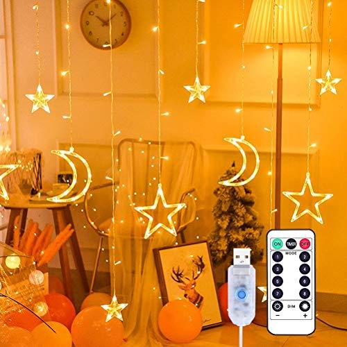 FSDELIV Cortina de luces LED para ventana de estrella, luna, de 3,5 m, cadena de luces de hadas de estrella, resistente al agua, para decoración del hogar, para dormitorio, sala de estar
