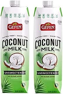 Gefen Unsweetened Coconut Milk, 33.8oz (2 Pack) Dairy Free, Non GMO, Gluten Free, Vegan and Kosher