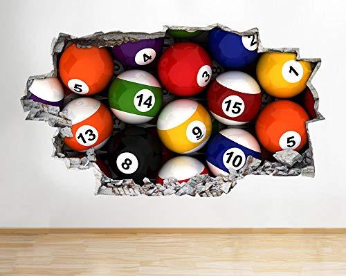 Snooker Tafel Pool Balls Bar Kleurrijke Jongens Muurtattoo 3D Kunst Stickers Kids Slaapkamer Baby Kindertuin Posters Woonkamer Jongens Meisjes Muurschildering