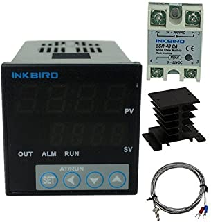 Inkbird PID Thermostat °F °C Display Stable Digital Temperature Controller Heating Cooling Control ITC106VH 40DA SSR Output Solid State Relay Alarm K Seneor Black Heat Sink