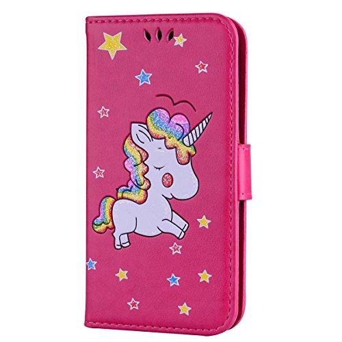 Ailisi Cover Samsung Galaxy S6, Unicorno Bling Glitter Flip Cover Custodia Caso Libro Pelle PU e TPU Silicone con Funzione Supporto Chiusura Magnetica Portafoglio - Rosa caldo