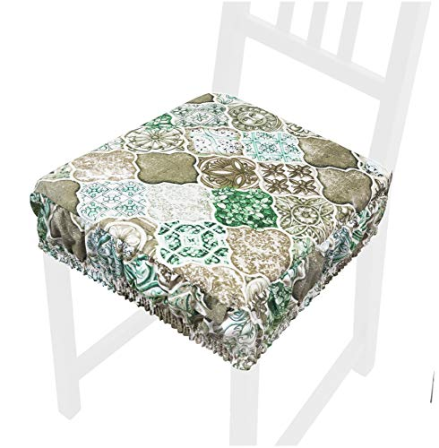 Cojín para silla de algodón Maiólica Gótica, suave, desenfundable lavable banda elástica AZALEA58