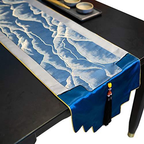 Chemins De Table pour Table À Manger avec Pompons Ferme Rustique Imitent Coton Lin Rayure Colorée pour Décor De Table Basse, Cuisine, Lavable