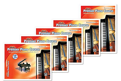 NEW Alfred's Premier Piano Course Level 1A Books Set (5 Books) - Lesson 1A, Theory 1A, Technique 1A, Performance 1A, Notespeller 1A