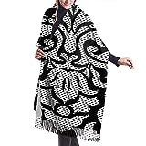 Irener Bufanda de mantón, Floral Design Womens Scarf Large Long Blanket Check Wrap Shawl With Tassel