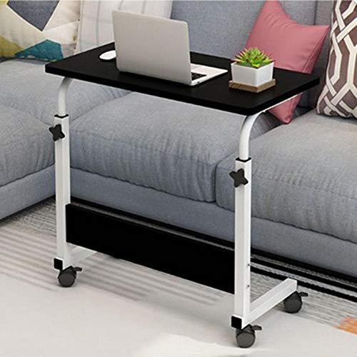 MJAHQ tavolino per pc da Letto e Divano Tavolino elevatore da Comodino, tavolino da Divano, Mobile con rotelle 60x40cm-nero