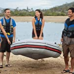 JNWEIYU Professional Sailor 3-Person Inflatable Boat Kayak,Assault Boat Dinghy Thick Hard Bottom Anti-Collision (Color… 12 The three-person inflatable kayak is perfect for outdoor water sports and adventures with your friends and family. Made of environmentally friendly non-toxic polymer materials, streamlined design facilitates boating in water There are grommets and drawstrings around the hull to ensure your safety.