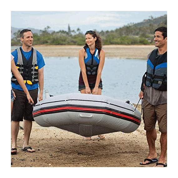 JNWEIYU Professional Sailor 3-Person Inflatable Boat Kayak,Assault Boat Dinghy Thick Hard Bottom Anti-Collision (Color… 6 The three-person inflatable kayak is perfect for outdoor water sports and adventures with your friends and family. Made of environmentally friendly non-toxic polymer materials, streamlined design facilitates boating in water There are grommets and drawstrings around the hull to ensure your safety.