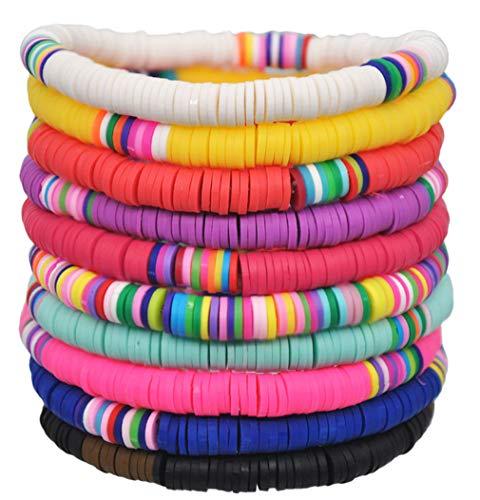 Jewdreamer 10 pulseras Heishi hechas a mano con cuentas de arco iris de Vsco de amistad, apilables, pulseras de verano y playa, joyería