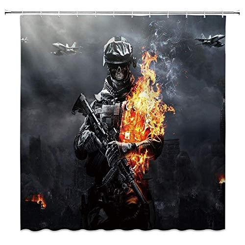 AdaCrazy Battlefield Drape Soldier Feuerwehr Pistole befestigt schwarzer Stoff Mikrofaser Duschvorhang Moderne Vorhang 71 x 71 Zoll beinhaltet 12 Kunststoff Haken wasserdicht