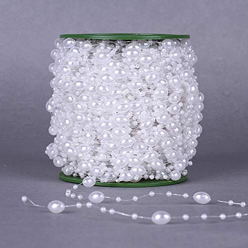 Girlande mit Wachsperlen 11mm Band Oval Perlenband Weiss Tischband Dekoband Hochzeit Tischdeko Perlenkette Zuchtperle Imitat Perlmutt Wedding Kinder Party Perlengirlande Dekoperle C340