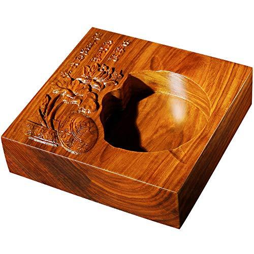 QMFS Hustender Aschenbecher, Rosenholz Aschenbecher, Handgeschnitzte Lotusform Geschenk für Raucher Zuhause, Hotel Retro-Ornamente 6.3inch Aschenbecher für Draussen