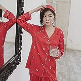 Otoño Sexy satén Rojo de Seda Ropa de Dormir Conjuntos de Mujeres Pijamas Pantalones de Manga...