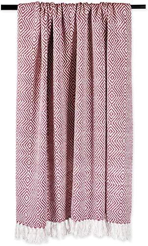 Craftngifts Manta Reversible 100% algodón – Manta Grande de 152 x 127 cm Tejida a Mano para sofá, Silla, decoración del hogar