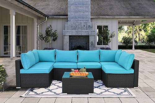 7 Pieces Patio Furniture Sets,Luxury Outdoor All Weather PE Rattan Wicker Lawn Conversation...