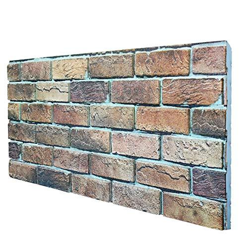 Borgo Italia - Panel de imitación de ladrillo de poliestireno expandido resinado, 100 x 50 cm, grosor 2 cm