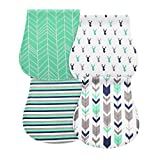 4 Pack Baby Burp Cloths, Zooawa Multi-use Soft and Absorbent Burp Set Large