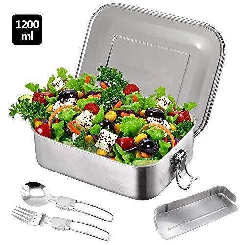 MEckily Edelstahl Brotdose, Plastikfrei,Edelstahl 304 in Lebensmittelqualität, 20x15x6.5cm, 1200ml, BPA-frei, Trennwand und 2 Fächer, Lunchbox & Bento-Box für Kinder & Erwachsene