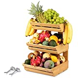 Bamboo Fruit Basket Holder Vegetable Bread Storage Stand 3 Tier Wooden Produce Standing Organizer with 2 Banana Hooks for Kitchen, Home, Office, Dining Room, Supply Room and Guest Room (Need Assemble)