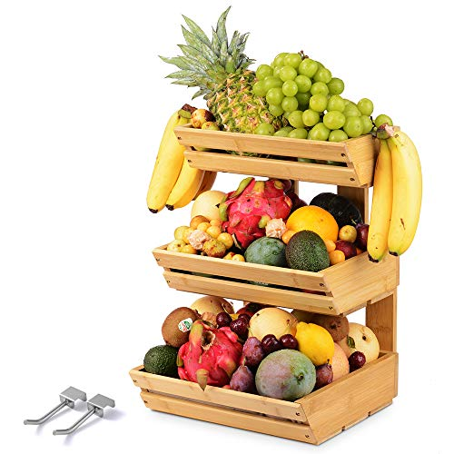 Bamboo Fruit Basket Holder Vegetable Bread Storage Stand, 3 Tier Standing Basket Organizer with 2 Banana Hooks for Kitchen, Home, Office, Dining Room, Supply Room and Guest Room (Need Assemble)
