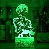 BTEVX Lámpara LED 3D Anime para niños Illusion Anime LED Attack on Titan Logo Niños Niños Manga Dormitorio Lámpara de escritorio Shingeki no Kyojin 7 colores Luz nocturna Lámpara táctil