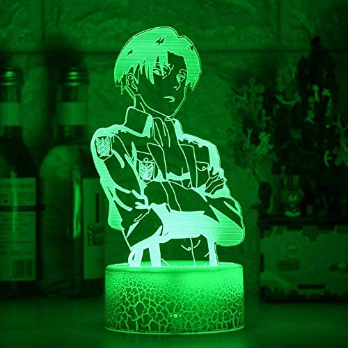 GEZHF Lámpara LED 3D Anime para niños Illusion Anime LED Attack on Titan Logo Niños Niños Manga Dormitorio Lámpara de escritorio Shingeki no Kyojin 7 colores Luz nocturna Lámpara táctil