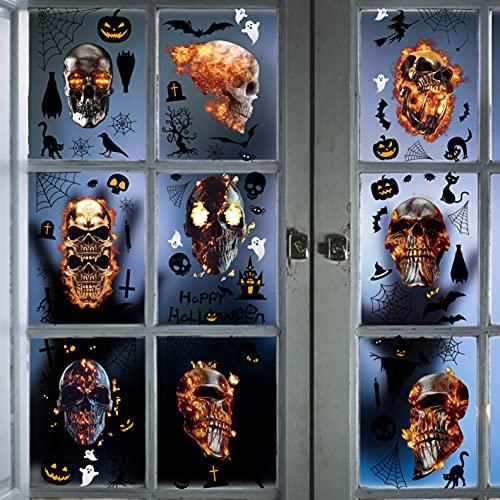 CheChury Halloween Decorazioni Adesivi per Teschio in Fiamme Scheletri di Halloween Adesivo Autoadesivo Vetrofanie Halloween Party Festival Ufficio Scolastico Può essere utilizzato su entrambi i lati