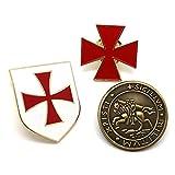 BOBIJOO Jewelry - Mucho Juego de 3 Insignia de la Orden de los Caballeros Templarios Sello de la...