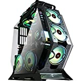KEDIERS Computer Case ATX Mid Tower PC Gaming Case Open Tower Case - USB3.0 - Remote Control - 2 Tempered Glass - Cooling System - Airflow - Cable Management C-570 (7 RGB Fans, Green)