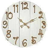 CasaJame Reloj de pared de madera XXL redondo con cuerda y números shabby chic, color blanco, diámetro 70 cm