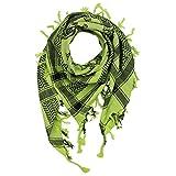 Freak Scene Kufiya - Keffiyeh - Calaveras con huesos grandes verde-verde claro - negro - 100x100 cm - Pañuelo palestino de Arafat - PLO Pali chal - 100% algodón