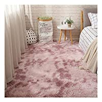 超柔らかい毛むくじゃらの長方形の敷物、ファッション滑り止めカーペット、ふわふわの長いぬいぐるみの家の装飾のカーペット、居間/寝室/廊下のため,ピンク,160x100cm