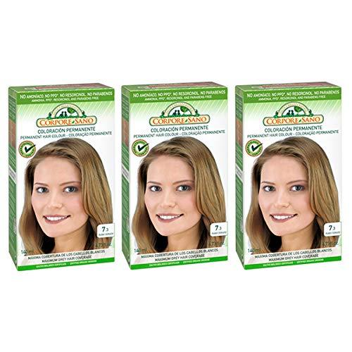 Corpore Sano Pack x3 Unidades Tinte Rubio Dorado 7.3 Permanente 140ml - Tinte de coloración sin amoníaco, resorcinol ni parabenos. Los champús naturales de Henna poténcia la durabilidad del color