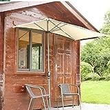 Sombrilla Terraza Parasol Jardin Medio Rectángulo Sombrilla de Patio contra la Pared Sombrilla, 2,5 × 1,3 M Protección UV Sombrillas de Mesa, para Balcón de Pared Parasol De Ventana