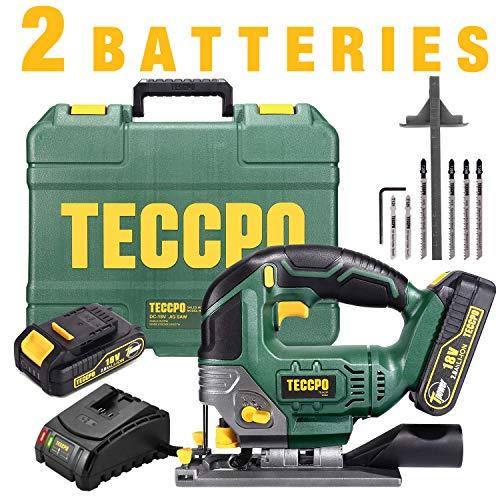 petit un compact Scie sauteuse sans fil, scie sauteuse TECCPO 18V, batterie 2 x 2,0 Ah, chargeur 2,0 Ah, lampe LED,…