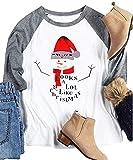 Women Plus Size It Looks a Lot Like Christmas Snowman T-Shirt 3/4 Sleeve Baseball Tee Size 2XL (White)