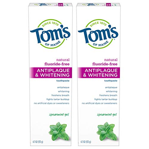 Tom's of Maine FluorideFree Antiplaque & Whitening Natural Toothpaste Spearmint, 9.4 Ounce (Pack of 2)
