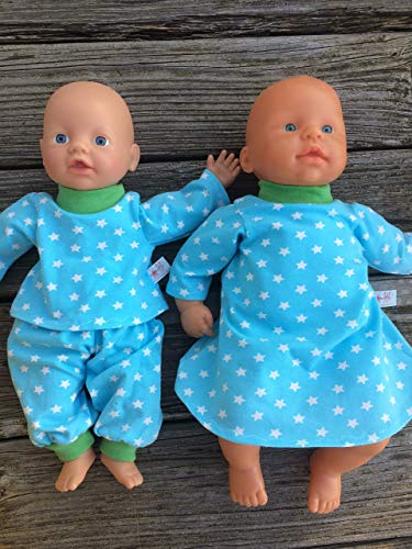 Puppenkleidung handmade Shirt + Hose ODER Nachthemd für Puppen Gr. 32 - 38 cm z.b. kleine Baby Puppe Puppen Pyjama Nachtwäsche Kleidung Puppensachen türkis STERNE NEU