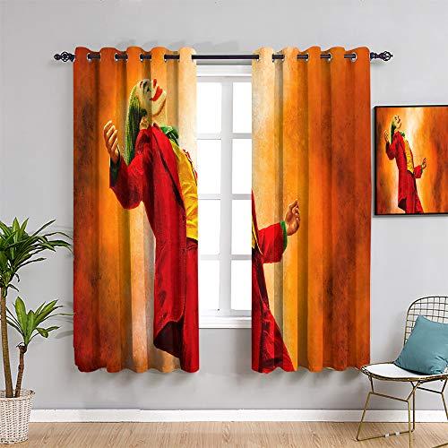 Ficldxc Joker All Season Insulation Curtain joker joaquin phoenix Curtains 84 inch length for Bedroom 2 Panel Sets W108 x L84 Inch