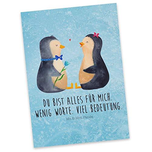 Mr. & Mrs. Panda Karte, Grußkarte, Postkarte Pinguin Pärchen mit Spruch - Farbe Eisblau
