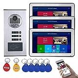Timbre con video wifi de 10 pulgadas, sistema telefónico de videoportero con cable de 3 apartamentos, intercomunicador, cámara de visión nocturna RFID IR-CUT, desbloqueo de la APP del monitor