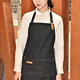 JWBT Delantal de Mezclilla de Moda Floral café Leche té Tienda manicura Hombres y Mujeres Restaurante Chef Overoles-más Largo