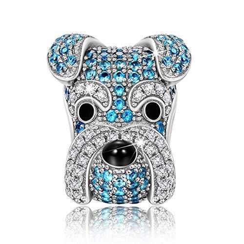 NINAQUEEN Charm für Pandora Charms Armband Geschenk für Frauen Schnauzer Welpen Hunde Blue Silber 925 Zirkonia Schmuck Damen mit Schmuckkasten