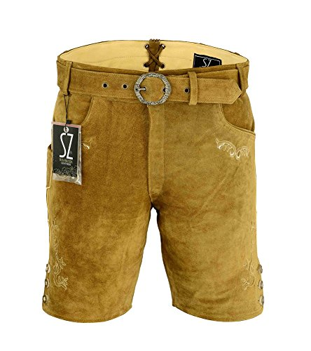 Shamzee klederdracht leren broek kort inclusief riem van echt leer in olijfkleur maat 46-62