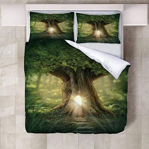 ARTEZXX 3D Bedding Set - Groen mysterie boomhut Bedkleding Print voor Mooi patroon voor Voeg kleur toe aan uw bed(1 dekbedovertrek + 2 kussenslopen)