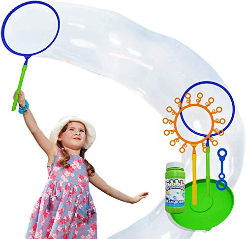 Riesen Zauberstab Set für Kinder und Erwachsene, Große Seifenblasenstäbe Bubble Makers mit Tablett und Seifenblasen Flüssigkeit, Party & Geburtstagsbevorzugung für Mädchen Jungen und Kleinkind