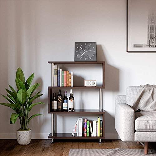 Bestier 4 Shelf Ladder Bookshelf S Shaped, Hollow-Core Board Mid Century Modern Bookshelf, Open...